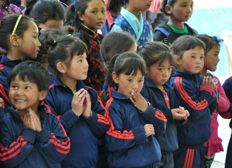 Ladakhi School girls at Mahabodhi Center